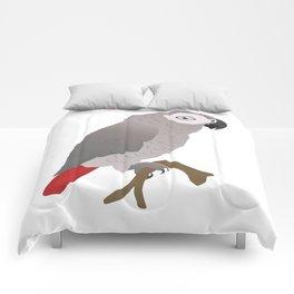 Cute African grey parrot vector Comforters
