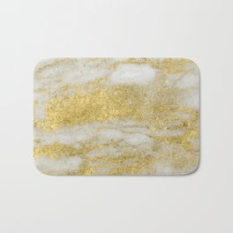 Marble - Glittery Gold Marble and White Pattern Bath Mat