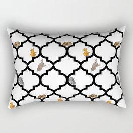 Cats on a Lattice - White Rectangular Pillow
