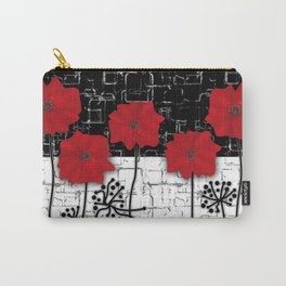 Retro. Red poppies on white background sulfur. Applique. Carry-All Pouch