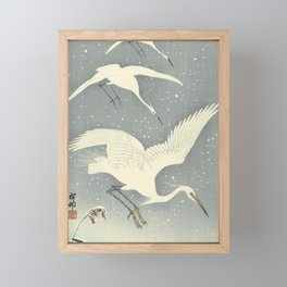 Descending egrets in snow, Ohara Koson Framed Mini Art Print