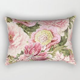 Vintage & Shabby Chic Floral Peony & Lily Flowers Watercolor Pattern Rectangular Pillow