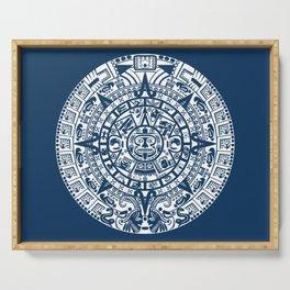 Mayan Calendar // Navy Blue Serving Tray