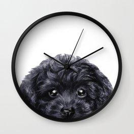 Black toy poodle Dog illustration original painting print Wall Clock