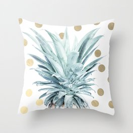 Pineapple crown - gold confetti Throw Pillow