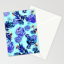 blue indigo purple gold turquoise floral pattern Stationery Cards