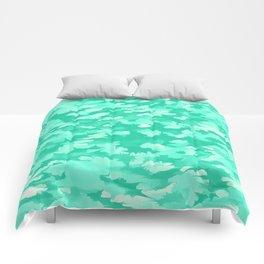 Foliage Abstract  Pop Art Aqua Comforters