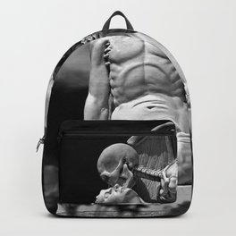 Kiss of Death, grave headstone winged angel of death marble sculpture and man Barcelona, Spain  Backpack