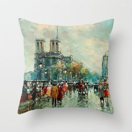 Notre-Dame Cathedral, City Streets of Paris by Antoine Blanchard Throw Pillow