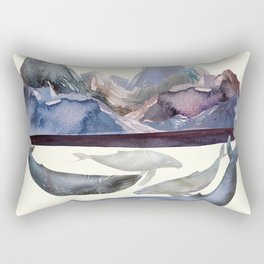 Whales Swiming under the Moutains Rectangular Pillow