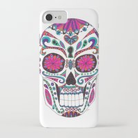 sugar skull iPhone & iPod Cases featuring Sugar Skull by Laura Maxwell