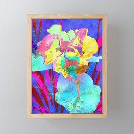 Fluorescent Watercolor Iris Art - Purple & Aqua Blue Framed Mini Art Print