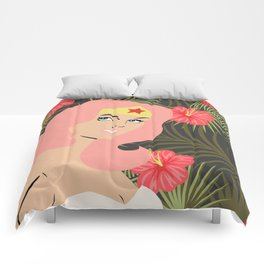 woman of wonder pink hair in tropical setting Comforters