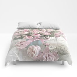 Pastel Roses In Vase - Shabby Chic Roses Pink Aqua Floral Print Home Decor Comforters