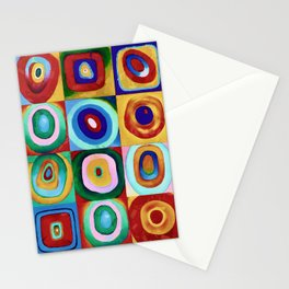 Colorful circles tile Stationery Cards