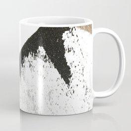 Sassy: a minimal abstract mixed-media piece in black, white, and gold by Alyssa Hamilton Art Coffee Mug