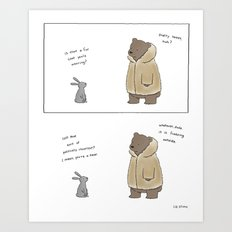 Bunny, It's Cold Outside  Art Print