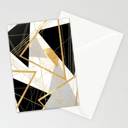 Black and Gold Geometric Stationery Cards