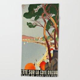 Vintage poster - Cote D'Azur, France Beach Towel