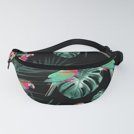 Parrots in the Tropical Jungle Night #1 #tropical #decor #art #society6 Fanny Pack