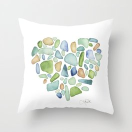 Heart of the Sea, sea glass watercolor Throw Pillow