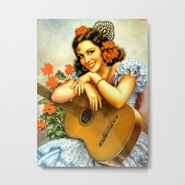 Mexican Calendar Girl with Guitar by Jesus Helguera Metal Print
