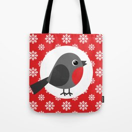 Robin Snowflakes Red Tote Bag