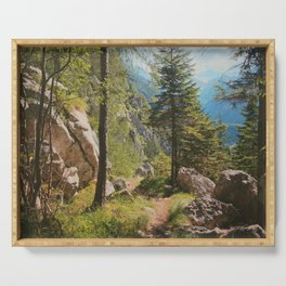 Green forest in the mountains Serving Tray