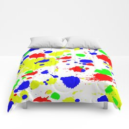 Colorful Paint Splatter. Comforters