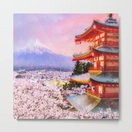 Spring on the Mount Fuji Metal Print