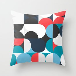 Circles Curves Shapes, Abstract and Geometry, Red, White, blues, black Throw Pillow