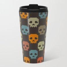 Knitted skull pattern - colorful Metal Travel Mug