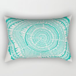 Turquoise Tree Rings Rectangular Pillow