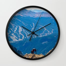 Dog Gone Climbing 2 // High above Copper Mountain Ski Resort in Colorado Landscape Photograph Wall Clock