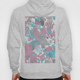 Artistic nautical teal pink gray coral floral pattern Hoody