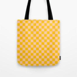 Deep Peach Orange and Amber Orange Checkerboard Tote Bag