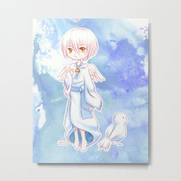 Sweet Angel Bird Anime Boy Metal Print