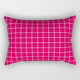 UA red - fuchsia color - White Lines Grid Pattern Rectangular Pillow