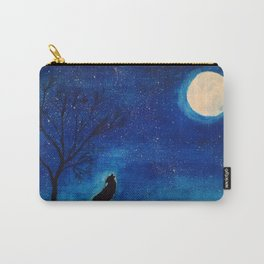 Starry Blues Wolf original watercolor Carry-All Pouch