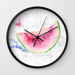 La Pastèque de Béziers—Watermelon and Lavender, Provence Wall Clock