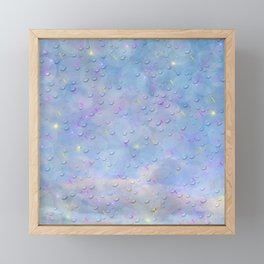 many digital butterflies with colorful clouds against blue with water droplets Framed Mini Art Print