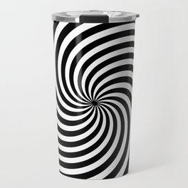 Black And White Op Art Spiral Travel Mug