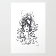 Lady and the Fox Art Print