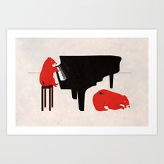 A Sleepy bear playing piano Art Print