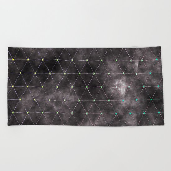 Galaxy - modern abstract dark grunge triangles pattern Beach Towel