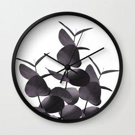 Eucalyptus Leaves Black White #1 #foliage #decor #art #society6 Wall Clock