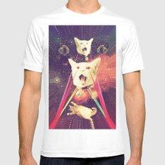 galactic Cats Saga 4 MEDIUM Mens Fitted Tee White