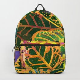 Yellow Croton Tropical Plant Leaves | Modern Garden Art Print Backpack