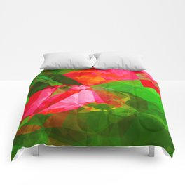 Pink Roses in Anzures 5  Abstract Polygons 1 Comforters