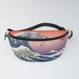 The Great Wave of Pug Fanny Pack